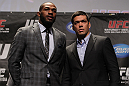 TORONTO, ON - DECEMBER 08:  (L-R) UFC Light Heavyweight Champion Jon Jones and opponent Lyoto Machida pose for photos at the final UFC 140 pre-fight press conference at Bell Tiff Lightbox Cinema1 on December 8, 2011 in Toronto, Canada.  (Photo by Josh Hedges/Zuffa LLC/Zuffa LLC via Getty Images)