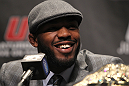 "TORONTO, ON - DECEMBER 08:  UFC Light Heavyweight Champion Jon ""Bones"" Jones attends the final UFC 140 pre-fight press conference at Bell Tiff Lightbox Cinema1 on December 8, 2011 in Toronto, Canada.  (Photo by Josh Hedges/Zuffa LLC/Zuffa LLC via Getty Images)"