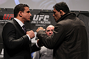 "TORONTO, ON - DECEMBER 08:  (L-R) Heavyweight opponents Frank Mir and Antonio Rodrigo ""Minotauro"" Nogueira face off at the final UFC 140 pre-fight press conference at Bell Tiff Lightbox Cinema1 on December 8, 2011 in Toronto, Canada.  (Photo by Josh Hedges/Zuffa LLC/Zuffa LLC via Getty Images)"