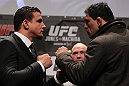 TORONTO, ON - DECEMBER 08:  (L-R) Heavyweight opponents Frank Mir and Antonio Rodrigo &quot;Minotauro&quot; Nogueira face off at the final UFC 140 pre-fight press conference at Bell Tiff Lightbox Cinema1 on December 8, 2011 in Toronto, Canada.  (Photo by Josh Hedges/Zuffa LLC/Zuffa LLC via Getty Images)