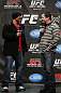 TORONTO, ON - DECEMBER 09:  (L-R) UFC Middleweight contender Mark Munoz and UFC commentator Mike Goldberg interacts with fans during a Q&amp;A session before the UFC 140 Official Weigh-in at the Air Canada Centre on December 9, 2011 in Toronto, Canada.  (Photo by Josh Hedges/Zuffa LLC/Zuffa LLC via Getty Images)