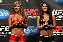 TORONTO, ON - DECEMBER 09:  (L-R) UFC Octagon Girls Brittney Palmer and Arianny Celeste attend the UFC 140 Official Weigh-in at the Air Canada Centre on December 9, 2011 in Toronto, Canada.  (Photo by Josh Hedges/Zuffa LLC/Zuffa LLC via Getty Images)