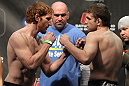 TORONTO, ON - DECEMBER 09:  (L-R) Lightweight opponentsMark Bocek and Nik Lentz face off after weighing in during the UFC 140 Official Weigh-in at the Air Canada Centre on December 9, 2011 in Toronto, Canada.  (Photo by Josh Hedges/Zuffa LLC/Zuffa LLC via Getty Images)