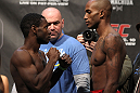 TORONTO, ON - DECEMBER 09:  (L-R) Bantamweight opponents Yves Jabouin and Walel Watson face off after weighing in during the UFC 140 Official Weigh-in at the Air Canada Centre on December 9, 2011 in Toronto, Canada.  (Photo by Josh Hedges/Zuffa LLC/Zuffa LLC via Getty Images)
