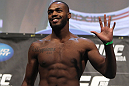 "TORONTO, ON - DECEMBER 09:  UFC Light Heavyweight Champion Jon ""Bones"" Jones weighs in during the UFC 140 Official Weigh-in at the Air Canada Centre on December 9, 2011 in Toronto, Canada.  (Photo by Josh Hedges/Zuffa LLC/Zuffa LLC via Getty Images)"