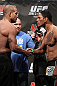 "TORONTO, ON - DECEMBER 09:  (L-R) Light Heavyweight opponents Tito Ortiz and Antonio Rogerio ""Minotoro"" Nogueira face off after weighing in during the UFC 140 Official Weigh-in at the Air Canada Centre on December 9, 2011 in Toronto, Canada.  (Photo by Josh Hedges/Zuffa LLC/Zuffa LLC via Getty Images)"