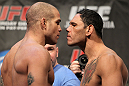 TORONTO, ON - DECEMBER 09:  (L-R) Light Heavyweight opponents Tito Ortiz and Antonio Rogerio  Nogueira face off after weighing in during the UFC 140 Official Weigh-in at the Air Canada Centre on December 9, 2011 in Toronto, Canada.  (Photo by Josh Hedges/Zuffa LLC/Zuffa LLC via Getty Images)