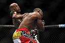 TORONTO, ON - DECEMBER 10:  (L-R) Walel Watson punches Yves Jabouin during the UFC 140 event at Air Canada Centre on December 10, 2011 in Toronto, Ontario, Canada.  (Photo by Josh Hedges/Zuffa LLC/Zuffa LLC via Getty Images)