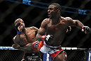TORONTO, ON - DECEMBER 10:  (R-L) Yves Jabouin kicks Walel Watson during the UFC 140 event at Air Canada Centre on December 10, 2011 in Toronto, Ontario, Canada.  (Photo by Josh Hedges/Zuffa LLC/Zuffa LLC via Getty Images)