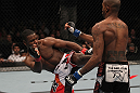 TORONTO, ON - DECEMBER 10:  (L-R) Yves Jabouin kicks Walel Watson during the UFC 140 event at Air Canada Centre on December 10, 2011 in Toronto, Ontario, Canada.  (Photo by Nick Laham/Zuffa LLC/Zuffa LLC via Getty Images)