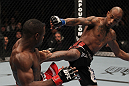 TORONTO, ON - DECEMBER 10:  (R-L) Walel Watson kicks Yves Jabouin during the UFC 140 event at Air Canada Centre on December 10, 2011 in Toronto, Ontario, Canada.  (Photo by Nick Laham/Zuffa LLC/Zuffa LLC via Getty Images)