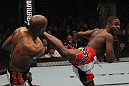 TORONTO, ON - DECEMBER 10:  (R-L) Yves Jabouin kicks Walel Watson during the UFC 140 event at Air Canada Centre on December 10, 2011 in Toronto, Ontario, Canada.  (Photo by Nick Laham/Zuffa LLC/Zuffa LLC via Getty Images)