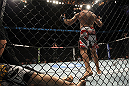 TORONTO, ON - DECEMBER 10:  Igor Pokrajac reacts after knocking out Krzysztof Soszynski during the UFC 140 event at Air Canada Centre on December 10, 2011 in Toronto, Ontario, Canada.  (Photo by Josh Hedges/Zuffa LLC/Zuffa LLC via Getty Images)