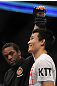 "TORONTO, ON - DECEMBER 10:  ""The Korean Zombie"" Chan Sung Jung reacts after knocking out Mark Hominick during the UFC 140 event at Air Canada Centre on December 10, 2011 in Toronto, Ontario, Canada.  (Photo by Josh Hedges/Zuffa LLC/Zuffa LLC via Getty Images)"