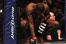 "TORONTO, ON - DECEMBER 10:  Jon ""Bones"" Jones prepares to enter the Octagon before his bout against Lyoto Machida during the UFC 140 event at Air Canada Centre on December 10, 2011 in Toronto, Ontario, Canada.  (Photo by Nick Laham/Zuffa LLC/Zuffa LLC via Getty Images)"