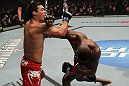 "TORONTO, ON - DECEMBER 10:  (R-L) Jon ""Bones"" Jones punches Lyoto Machida during the UFC 140 event at Air Canada Centre on December 10, 2011 in Toronto, Ontario, Canada.  (Photo by Nick Laham/Zuffa LLC/Zuffa LLC via Getty Images)"