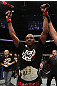 TORONTO, ON - DECEMBER 10:  UFC Light Heavyweight Champion Jon &quot;Bones&quot; Jones reacts after defeating Lyoto Machida during the UFC 140 event at Air Canada Centre on December 10, 2011 in Toronto, Ontario, Canada.  (Photo by Nick Laham/Zuffa LLC/Zuffa LLC via Getty Images)