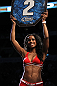 TORONTO, ON - DECEMBER 10:  UFC Octagon Girl Chandella Powell introduces round two during the Cholish v Clarke bout during the UFC 140 event at Air Canada Centre on December 10, 2011 in Toronto, Ontario, Canada.  (Photo by Josh Hedges/Zuffa LLC/Zuffa LLC via Getty Images)