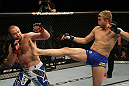 LAS VEGAS, NV - DECEMBER 30:  Alexander Gustafsson (right) kicks Vladimir Matyushenko (left) during the UFC 141 event at the MGM Grand Garden Arena on December 30, 2011 in Las Vegas, Nevada.  (Photo by Donald Miralle/Zuffa LLC/Zuffa LLC via Getty Images) *** Local Caption *** Alexander Gustafsson; Vladimir Matyushenko