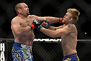 LAS VEGAS, NV - DECEMBER 30:  Vladimir Matyushenko (left) and Alexander Gustafsson (right) exchange blows during the UFC 141 event at the MGM Grand Garden Arena on December 30, 2011 in Las Vegas, Nevada.  (Photo by Josh Hedges/Zuffa LLC/Zuffa LLC via Getty Images) *** Local Caption *** Vladimir Matyushenko; Alexander Gustafsson