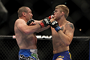LAS VEGAS, NV - DECEMBER 30:  Alexander Gustafsson (right) and Vladimir Matyushenko (left) exchange punches during the UFC 141 event at the MGM Grand Garden Arena on December 30, 2011 in Las Vegas, Nevada.  (Photo by Josh Hedges/Zuffa LLC/Zuffa LLC via Getty Images) *** Local Caption *** Alexander Gustafsson; Vladimir Matyushenko