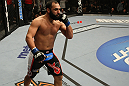 LAS VEGAS, NV - DECEMBER 30:  Johny Hendricks celebrates his win over Jon Fitch during the UFC 141 event at the MGM Grand Garden Arena on December 30, 2011 in Las Vegas, Nevada.  (Photo by Donald Miralle/Zuffa LLC/Zuffa LLC via Getty Images) *** Local Caption *** Johny Hendricks