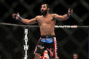 LAS VEGAS, NV - DECEMBER 30:  Johny Hendricks reacts to his knockout victory over Jon Fitch during the UFC 141 event at the MGM Grand Garden Arena on December 30, 2011 in Las Vegas, Nevada.  (Photo by Josh Hedges/Zuffa LLC/Zuffa LLC via Getty Images) *** Local Caption *** Johny Hendricks