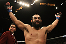 LAS VEGAS, NV - DECEMBER 30:  Johny Hendricks reacts to his win over Jon Fitch during the UFC 141 event at the MGM Grand Garden Arena on December 30, 2011 in Las Vegas, Nevada.  (Photo by Donald Miralle/Zuffa LLC/Zuffa LLC via Getty Images) *** Local Caption *** Johny Hendricks