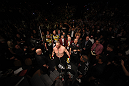 LAS VEGAS, NV - DECEMBER 30:  Brock Lesnar prepares to enter the Octagon before his fight with Alistair Overeem during the UFC 141 event at the MGM Grand Garden Arena on December 30, 2011 in Las Vegas, Nevada.  (Photo by Donald Miralle/Zuffa LLC/Zuffa LLC via Getty Images) *** Local Caption *** Brock Lesnar