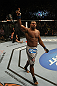 LAS VEGAS, NV - DECEMBER 30:  Alistair Overeem celebrates his win over Brock Lesnar during the UFC 141 event at the MGM Grand Garden Arena on December 30, 2011 in Las Vegas, Nevada.  (Photo by Donald Miralle/Zuffa LLC/Zuffa LLC via Getty Images) *** Local Caption *** Alistair Overeem