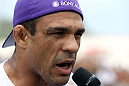 RIO DE JANEIRO, BRAZIL - JANUARY 11:  Vitor Belfort is interviewed after working out during the UFC 142 Open Workouts at Barra de Tijuca Beach on January 11, 2012 in Rio de Janeiro, Brazil.  (Photo by Josh Hedges/Zuffa LLC/Zuffa LLC via Getty Images)