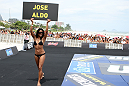 RIO DE JANEIRO, BRAZIL - JANUARY 11:  UFC Octagon Girl Chandella Powell attends the UFC 142 Open Workouts at Barra de Tijuca Beach on January 11, 2012 in Rio de Janeiro, Brazil.  (Photo by Josh Hedges/Zuffa LLC/Zuffa LLC via Getty Images)