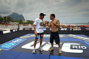 RIO DE JANEIRO, BRAZIL - JANUARY 11:  (L-R) UFC Featherweight Champion Jose Aldo and challenger Chad Mendes face off during the UFC 142 Open Workouts at Barra de Tijuca Beach on January 11, 2012 in Rio de Janeiro, Brazil.  (Photo by Josh Hedges/Zuffa LLC/Zuffa LLC via Getty Images)