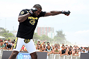 RIO DE JANEIRO, BRAZIL - JANUARY 11:  Anthony Johnson works out for the media and fans during the UFC 142 Open Workouts at Barra de Tijuca Beach on January 11, 2012 in Rio de Janeiro, Brazil.  (Photo by Josh Hedges/Zuffa LLC/Zuffa LLC via Getty Images)