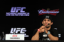 RIO DE JANEIRO, BRAZIL - JANUARY 12:  Chad Mendes attends the final UFC 142 pre-fight press conference at the Copacabana Palace Hotel on January 12, 2012 in Rio de Janeiro, Brazil.  (Photo by Josh Hedges/Zuffa LLC/Zuffa LLC via Getty Images)
