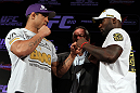RIO DE JANEIRO, BRAZIL - JANUARY 12:  (L-R) Opponents Vitor Belfort and Anthony Johnson face off during the final UFC 142 pre-fight press conference at the Copacabana Palace Hotel on January 12, 2012 in Rio de Janeiro, Brazil.  (Photo by Josh Hedges/Zuffa LLC/Zuffa LLC via Getty Images)