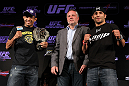 RIO DE JANEIRO, BRAZIL - JANUARY 12:  (L-R) UFC Featherweight Champion Jose Aldo and opponent Chad Mendes pose for photos during the final UFC 142 pre-fight press conference at the Copacabana Palace Hotel on January 12, 2012 in Rio de Janeiro, Brazil.  (Photo by Josh Hedges/Zuffa LLC/Zuffa LLC via Getty Images)