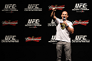 RIO DE JANEIRO, BRAZIL - JANUARY 13:  UFC Heavyweight Champion Junior dos Santos interacts with fans during a Q&A session before the UFC 142 Weigh In at HSBC Arena on January 13, 2012 in Rio de Janeiro, Brazil.  (Photo by Josh Hedges/Zuffa LLC/Zuffa LLC via Getty Images)