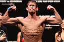 RIO DE JANEIRO, BRAZIL - JANUARY 13:  Sam Stout weighs in during the UFC 142 Weigh In at HSBC Arena on January 13, 2012 in Rio de Janeiro, Brazil.  (Photo by Josh Hedges/Zuffa LLC/Zuffa LLC via Getty Images)