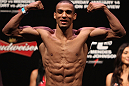 RIO DE JANEIRO, BRAZIL - JANUARY 13:  Edson Barboza weighs in during the UFC 142 Weigh In at HSBC Arena on January 13, 2012 in Rio de Janeiro, Brazil.  (Photo by Josh Hedges/Zuffa LLC/Zuffa LLC via Getty Images)