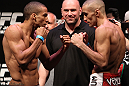 RIO DE JANEIRO, BRAZIL - JANUARY 13:  (L-R) Opponents Edson Barboza and Terry Etim face off after weighing in during the UFC 142 Weigh In at HSBC Arena on January 13, 2012 in Rio de Janeiro, Brazil.  (Photo by Josh Hedges/Zuffa LLC/Zuffa LLC via Getty Images)