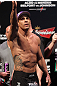 RIO DE JANEIRO, BRAZIL - JANUARY 13:  Vitor Belfort salutes the crowd after weighing in during the UFC 142 Weigh In at HSBC Arena on January 13, 2012 in Rio de Janeiro, Brazil.  (Photo by Josh Hedges/Zuffa LLC/Zuffa LLC via Getty Images)