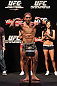 RIO DE JANEIRO, BRAZIL - JANUARY 13:  Chad Mendes weighs in during the UFC 142 Weigh In at HSBC Arena on January 13, 2012 in Rio de Janeiro, Brazil.  (Photo by Josh Hedges/Zuffa LLC/Zuffa LLC via Getty Images)