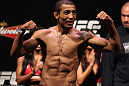 RIO DE JANEIRO, BRAZIL - JANUARY 13:  UFC Featherweight Champion Jose Aldo weighs in during the UFC 142 Weigh In at HSBC Arena on January 13, 2012 in Rio de Janeiro, Brazil.  (Photo by Josh Hedges/Zuffa LLC/Zuffa LLC via Getty Images)