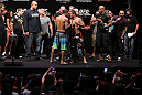 RIO DE JANEIRO, BRAZIL - JANUARY 13:  (L-R) UFC Featherweight Champion Jose Aldo and challenger Chad Mendes face off after weighing in during the UFC 142 Weigh In at HSBC Arena on January 13, 2012 in Rio de Janeiro, Brazil.  (Photo by Josh Hedges/Zuffa LLC/Zuffa LLC via Getty Images)