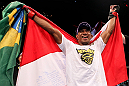 RIO DE JANEIRO, BRAZIL - JANUARY 14:  Yuri Alcantara celebrates after defeating Michihiro Omigawa in a featherweight bout during UFC 142 at HSBC Arena on January 14, 2012 in Rio de Janeiro, Brazil.  (Photo by Josh Hedges/Zuffa LLC/Zuffa LLC via Getty Images)