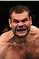 RIO DE JANEIRO, BRAZIL - JANUARY 14:  Gabriel Gonzaga celebrates after defeating Ednaldo Oliveira in a heavyweight bout during UFC 142 at HSBC Arena on January 14, 2012 in Rio de Janeiro, Brazil.  (Photo by Josh Hedges/Zuffa LLC/Zuffa LLC via Getty Images)
