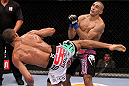RIO DE JANEIRO, BRAZIL - JANUARY 14:  Edson Barboza (L) knocks out Terry Etim (R) with a spinning back kick in a lightweight bout during UFC 142 at HSBC Arena on January 14, 2012 in Rio de Janeiro, Brazil.  (Photo by Josh Hedges/Zuffa LLC/Zuffa LLC via Getty Images)