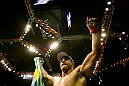 RIO DE JANEIRO, BRAZIL - JANUARY 14:  Vitor Belfort celebrates defeating Anthony Johnson (not pictured) in a middleweight bout during UFC 142 at HSBC Arena on January 14, 2012 in Rio de Janeiro, Brazil.  (Photo by Josh Hedges/Zuffa LLC/Zuffa LLC via Getty Images)