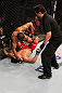 RIO DE JANEIRO, BRAZIL - JANUARY 14:  Jose Aldo punches Chad Mendes on the ground in a featherweight bout during UFC 142 at HSBC Arena on January 14, 2012 in Rio de Janeiro, Brazil.  (Photo by Josh Hedges/Zuffa LLC/Zuffa LLC via Getty Images)